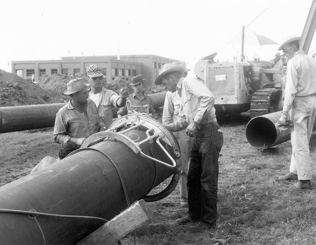 Historical image of pipeline construction