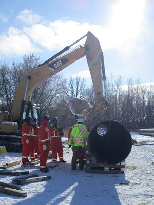 Pipeline 101 training with excavator