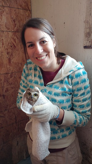 wildlife rescue volunteer with an owl