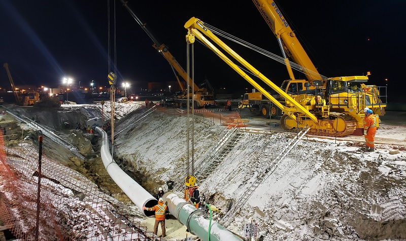 Night work on Line 3 Replacement at Cromer Manitoba